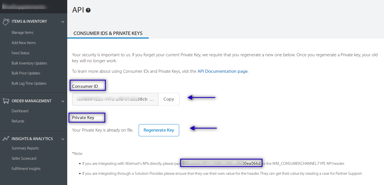 Consumer ID and Private Key