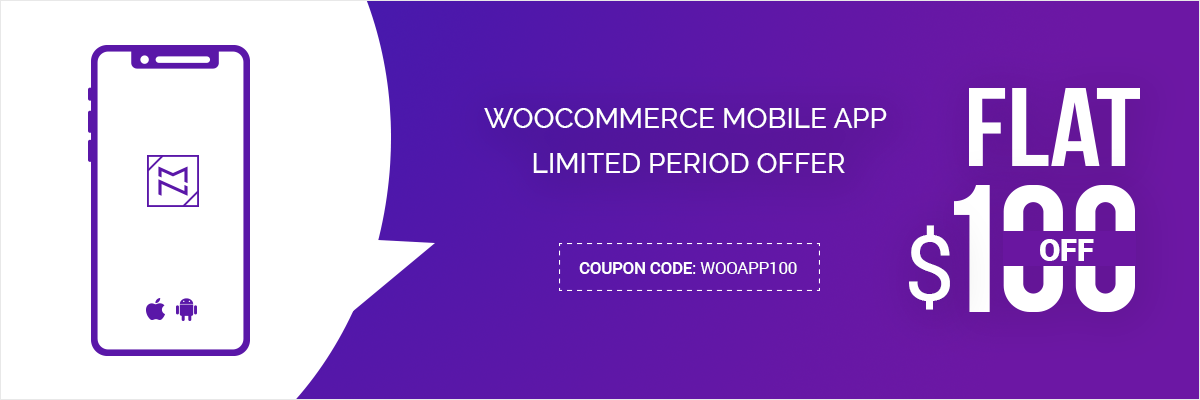Flat $100 Off   WooCommerce Mobile App Cool Summer Offer