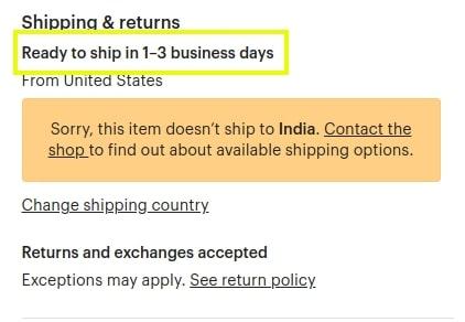 Etsy shipping