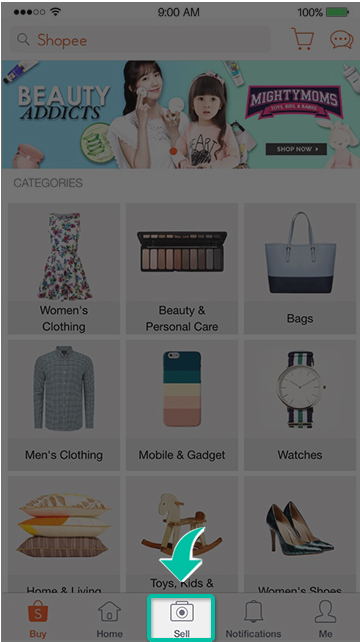 sell on shopee IOS and android
