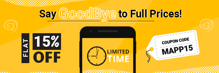 Say GoodBye to Full Prices! Flat 15% Off On Mobile Apps