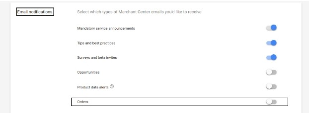 Google merchant center panel