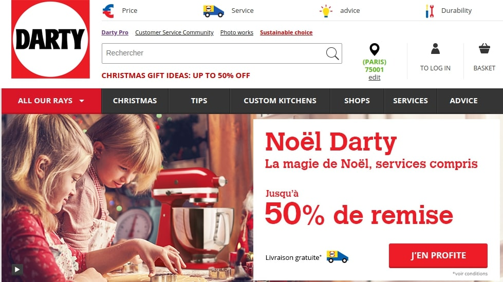darty marketplace website home page