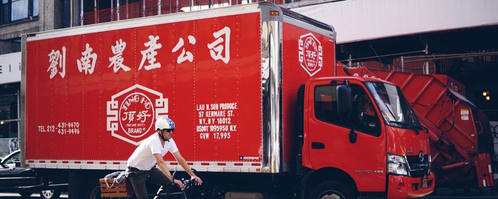 chinese new year 2021 preparation & delivery truck