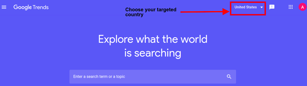 choose targeted country in google trends