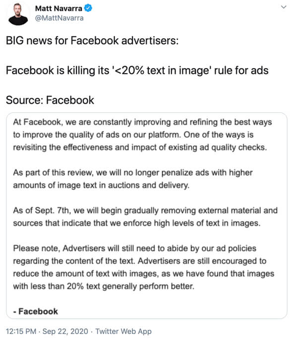 Tweet for Facebook Ads change