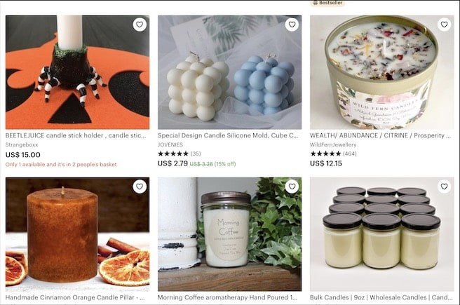 handmade candles on etsy
