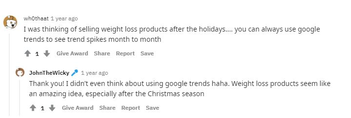 product after christmas