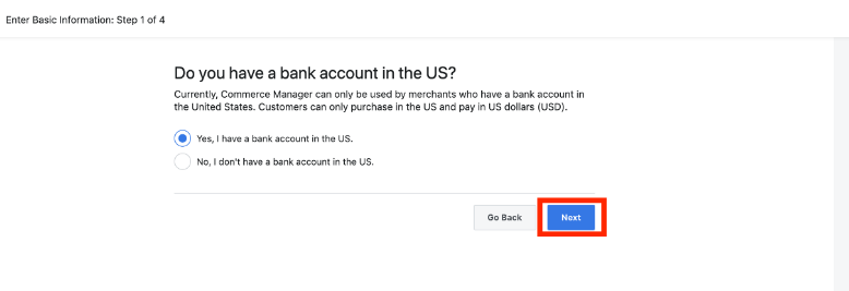 US business account