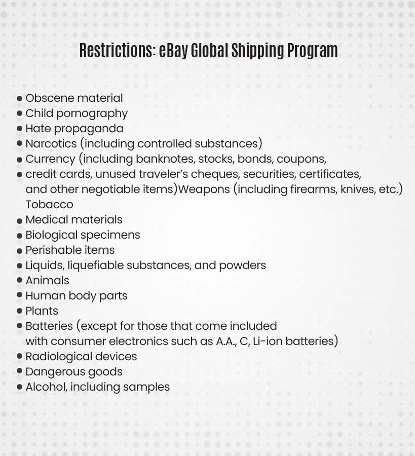 restriction on eBay Global Shipping Program