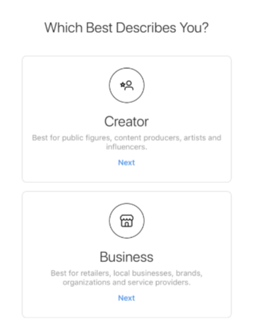 Types of Instagram business account