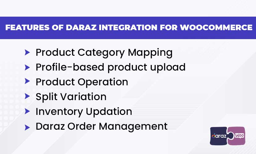 Features of Daraz integration for WooCommerce