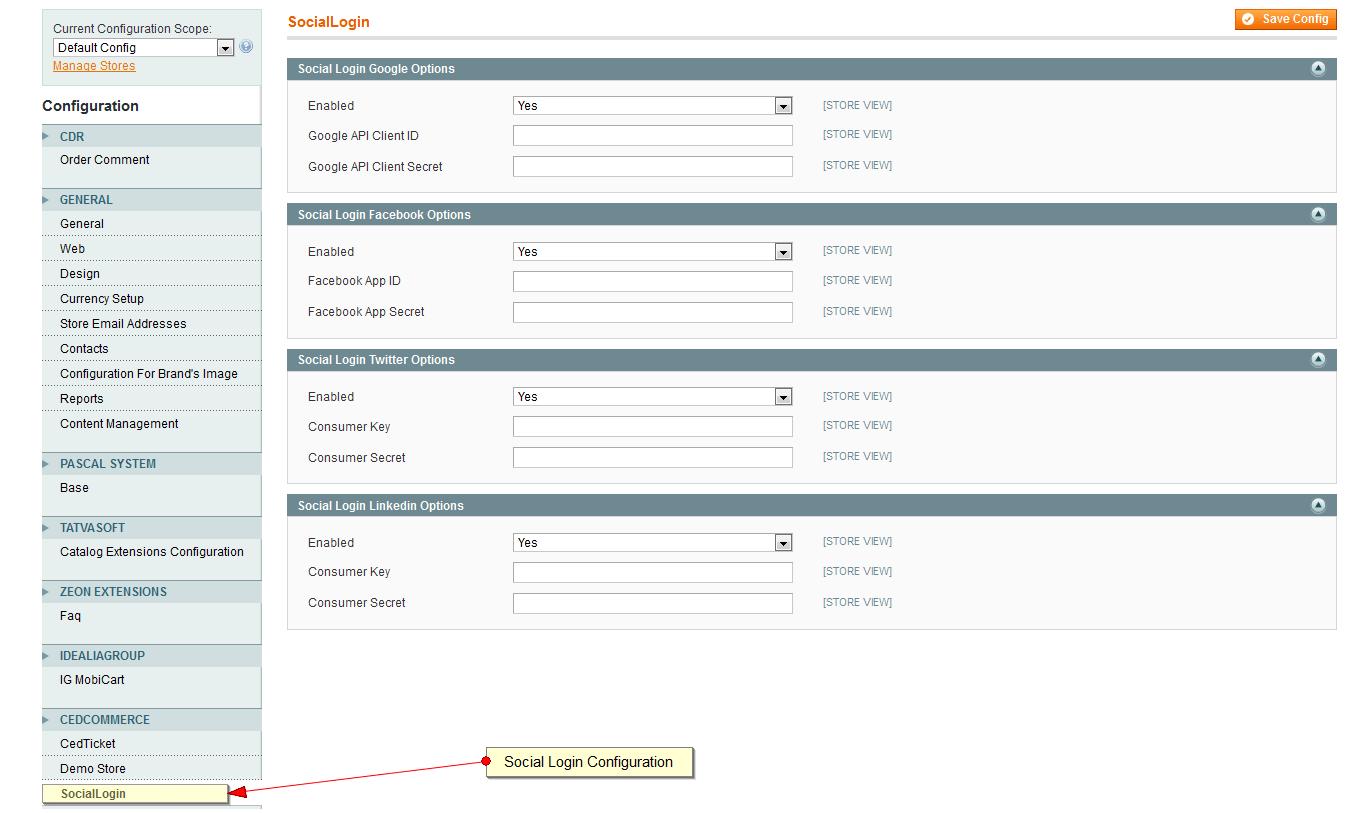 Login PageConfiguration Page