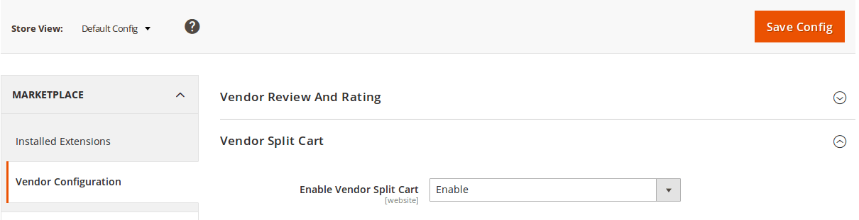 Vendor Split Cart Configuration