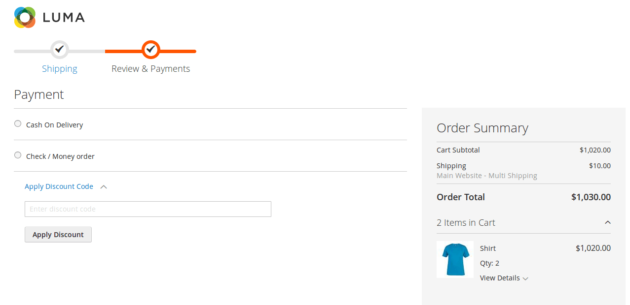 Vendor Split Cart Addon on Payment Page