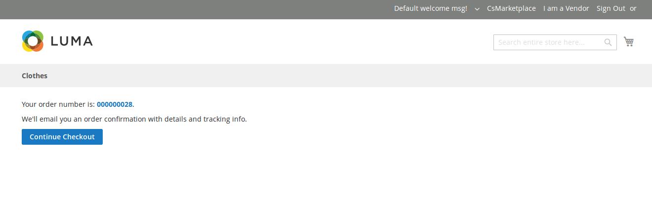 Vendor Split Cart Addon on Order Placed Page
