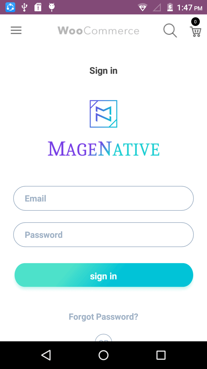 Magenative Woocommerce Mobile App Log in