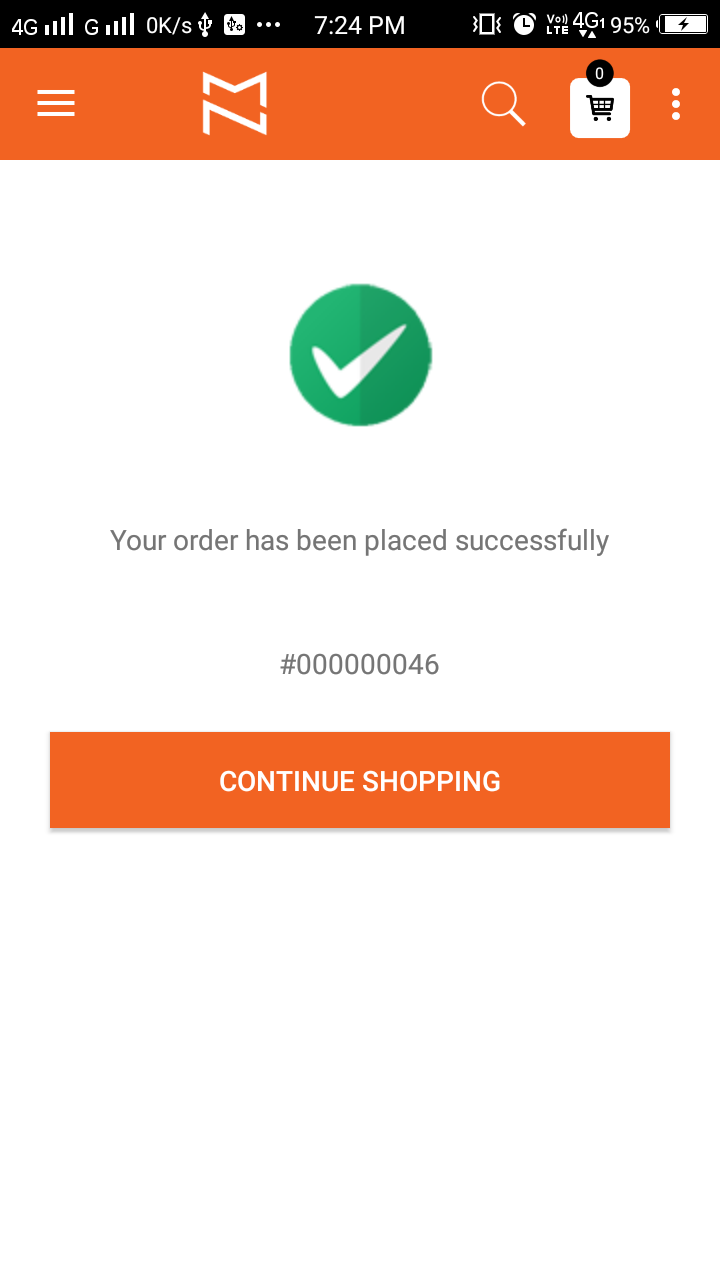 Magento 2 Mobile app Order Success