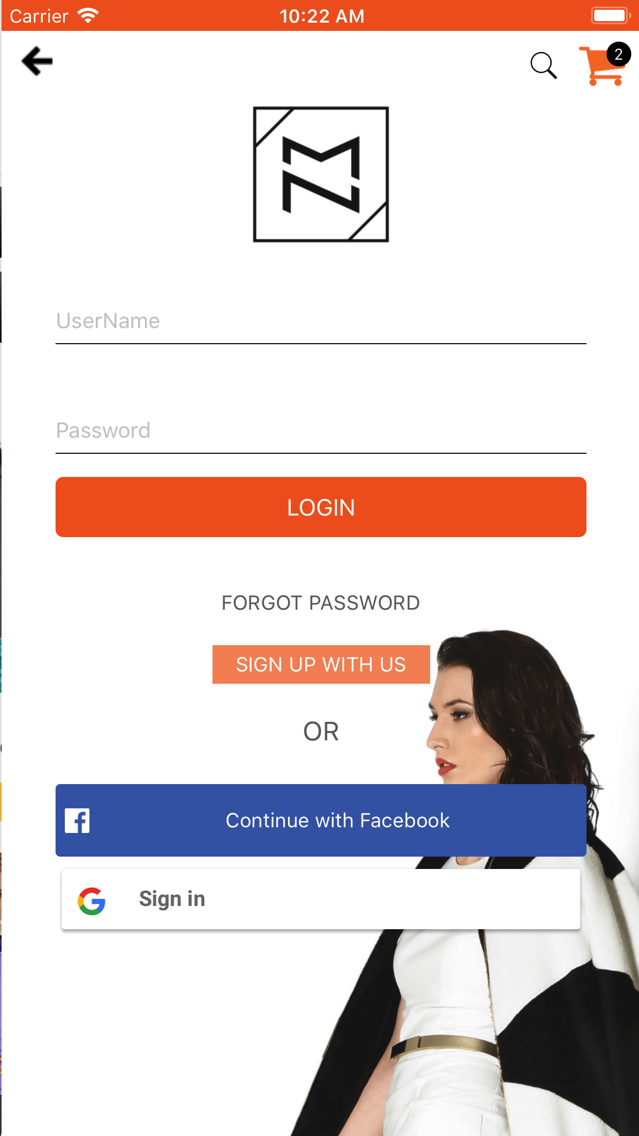 Magento 2 app login page
