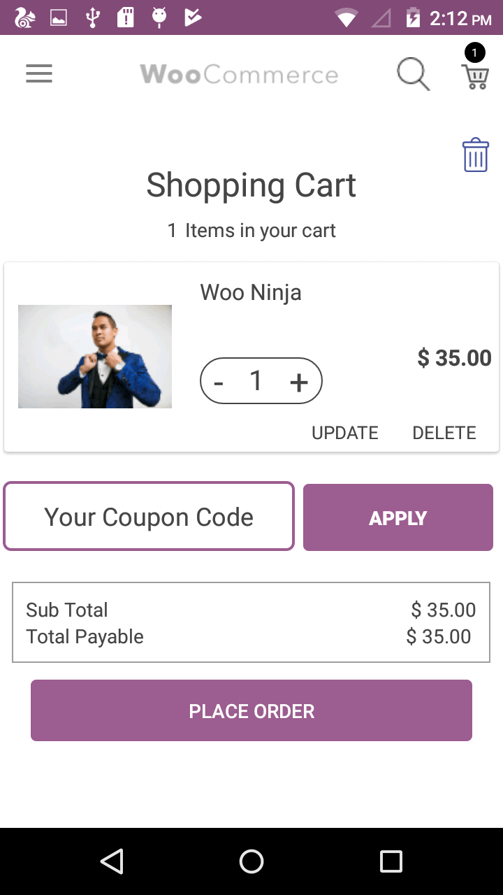 Woocommerce Android App Cart